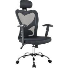 SalesFever Bürostuhl schwarz mit Kopstützen aus Mesh