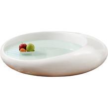 SalesFever Couchtisch 100x100x25 cm weiß Fiberglas hochglanz lackiert