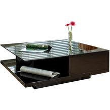 SalesFever Couchtisch 100x100x36 cm schwarz hochglanz lackiert, 8 mm Glasplatte (Sicherheitsglas)