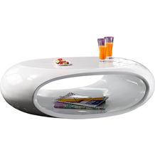 SalesFever Couchtisch 109x59x34 cm weiß Fiberglas hochglanz lackiert, zusätzliches Ablagefach innen