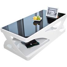 SalesFever Couchtisch 120x60x38 cm weiß/schwarz Fiberglas hochglanz lackiert
