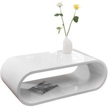 SalesFever Couchtisch 120x60x40 cm weiß hochglanz lackiert, mit Stauraum