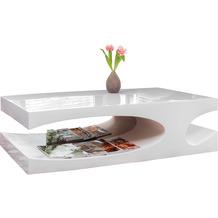 SalesFever Couchtisch 120x70x37 cm weiß Hochglanz, Made in Germany, mit 2 zusätzlichen Ablagefächern