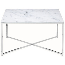 SalesFever Couchtisch 80x80x45 cm Metall, Glas Weiß, Chrom 394724