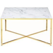 SalesFever Couchtisch 80x80x45 cm Metall, Glas Weiß, Gold 394731