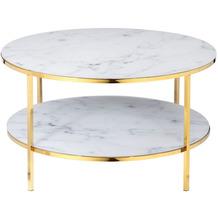 SalesFever Couchtisch mit 2 Ablagen Ø 80 cm Metall, Glas Weiß, Gold 394755