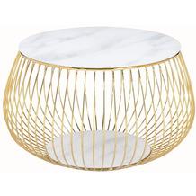 SalesFever Couchtisch mit Metallkorb Ø 72 cm Weiß, Gold 395561