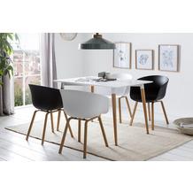 SalesFever Essgruppe 5 tlg. 120x80 cm 393208 Esszimmerstühle schwarz und weiß