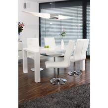 SalesFever Essgruppe 5 tlg. 160x90 cm 393383 Esszimmerstühle weiß