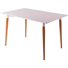 SalesFever Esstisch 120x80x75 cm weiß Tischplatte 18 mm, Metallbeine in Eichenoptik, matt lackiert