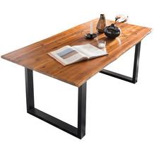 SalesFever Esstisch 140x80x77 cm mit echter Baumkante, schwarz lackiertes Gestell