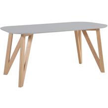 SalesFever Esstisch 140x90x76 cm grau Eiche Massives Eichengestell, oval geformte Tischplatte, matt lackiert, Skandinavian Design