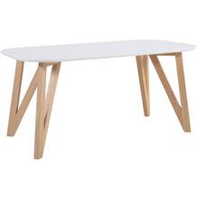 SalesFever Esstisch 140x90x76 cm weiß Eiche massives Eichengestell, oval geformte Tischplatte, matt lackiert, Skandinavian Design