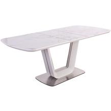 SalesFever Esstisch 160/200x90 cm Weiß, stahlfarben 395738