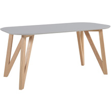 SalesFever Esstisch 180x90x76 cm grau Eiche, oval geformte Tischplatte, matt lackiert, Skandinavian Design