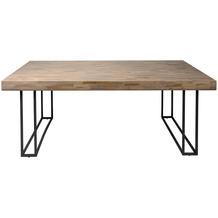 SalesFever Esstisch 200x100 cm aus Akazie Metall, Holz Natur, Schwarz 394991