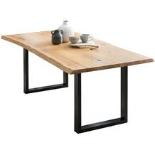 SalesFever Esstisch 240x100 cm aus Eiche Holz, Metall Natur, Schwarz 393741