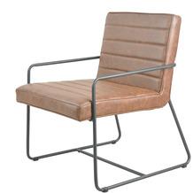 SalesFever Esszimmerstuhl 2er Set braun, Kunstleder mit Armlehnen, schwarzes Gestell, extra breite und tiefe Sitzfläche, mit Ziernähten