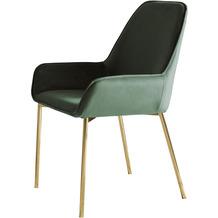 SalesFever Esszimmerstuhl 2er Set grün Samt, leicht abgeschrägte Armlehnen