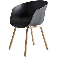 SalesFever Esszimmerstuhl 2er Set schwarz Kunststoffschale, Metallbeine mit Holzoptik, Rückenlehne ergonomisch geformt