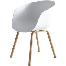 SalesFever Esszimmerstuhl 2er Set weiß Kunststoffschale, Metallbeine mit Holzoptik, Rückenlehne ergonomisch geformt