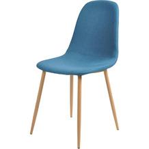 SalesFever Esszimmerstuhl 4er Set blau, Metallbeine in Holzoptik