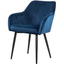 SalesFever Esszimmerstuhl blau Samt, mit Armlehnen und Diamantsteppung auf der Rückeseite