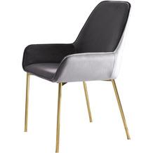 SalesFever Esszimmerstuhl grau Samt 2er Set Stuhlbeine in goldenem Messing, leicht abgeschrägte Armlehnen