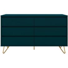 SalesFever Kommode breit mit 6 Schubladen MDF, Metall Blau, Gold 395172