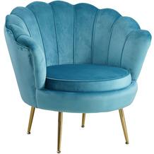 SalesFever Muschelsessel aus Samt Blau Metall, Samt (100% Polyester) Blau, Gold 394205