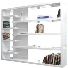 SalesFever Raumteiler 200x35x200 cm weiß hochglanz lackiert, 4 kurze und 3 lange Böden, Gesamttiefe: ca. 35 cm