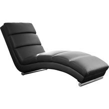SalesFever Relaxliege schwarz Kunstleder geschwungene Liegefläche, mit verchromtes Füßen