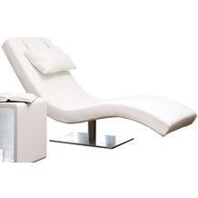 SalesFever Relaxliege weiß Kunstleder Edelstahlfuß, geschwungene Liegefläche mit Kunstlederbezug