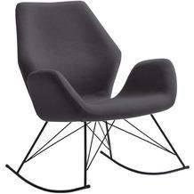 SalesFever Schaukelsessel dunkelgrau Webstoff schwarz, mit Armlehne, ergonomisch geformte Sitzschale
