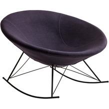 SalesFever Schaukelstuhl dunkelgrau Webstoff schwarz lackiertes Gestell, runde Sitzschale