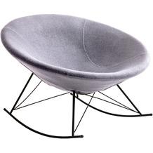SalesFever Schaukelstuhl hellgrau Webstoff schwarz lackiertes Gestell, runde Sitzschale