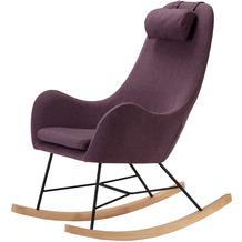 SalesFever Schaukelstuhl lila Textil Eiche Massivholz Kufen, schwarz, mit Armlehnen und Kopfkissen