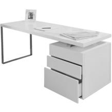 SalesFever Schreibtisch 140x70x76 cm weiß hochglanz lackiert, inkl. Container mit 3 Schubladen