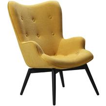 SalesFever Sessel Gelb Strukturstoff Metall, Stoff Gelb, Schwarz 394120