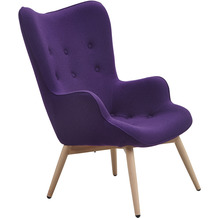 SalesFever Sessel lila Webstoff, Metallbeine in Holzoptik, Eichefarben