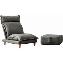 SalesFever Sessel mit Hocker Rahmen Stahl, Beine Eukalyptusholz, Bezug Stoff Bezug grau, Beine natur 394830