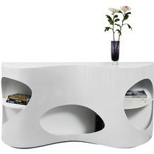 SalesFever Sideboard 150x40x75 cm weiß/Walnuss Hochglanz, mit geschwungener Form, Made in Germany