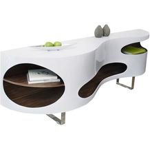 SalesFever Sideboard 200x50x75 cm weiß/Walnuss Hochglanz, mit geschwungener Form, mit Edelstahl Füßen, Made in Germany