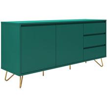 SalesFever Sideboard mit 2 Türen und 3 Schubladen MDF, Metall Grün, Gold 395073
