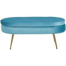 SalesFever Sitzpouf oval aus Samt Blau Blau, Gold 395431