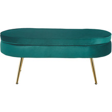 SalesFever Sitzpouf oval aus Samt Grün Grün, Gold 395400
