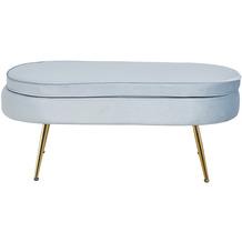 SalesFever Sitzpouf oval aus Samt Hellgrau Hellgrau, Gold 395448