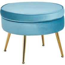SalesFever Sitzpouf rund aus Samt Blau Blau, Gold 395370