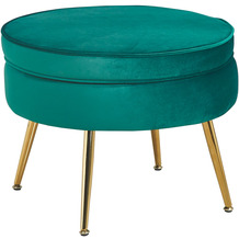 SalesFever Sitzpouf rund aus Samt Grün Grün, Gold 395349