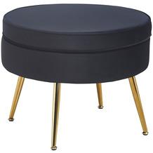SalesFever Sitzpouf rund aus Samt Schwarz Schwarz, Gold 395363
